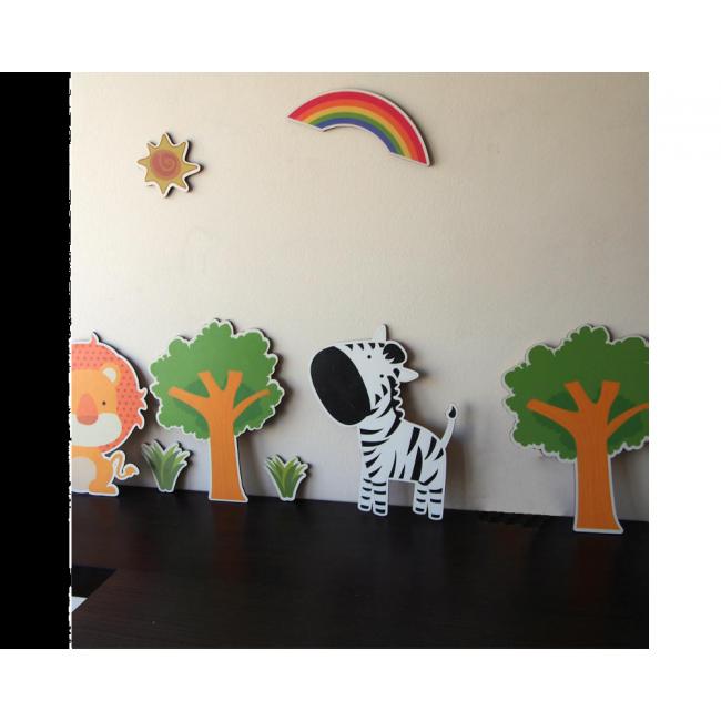 Zebra & Lion,ξύλινες φιγούρες με ζωάκια