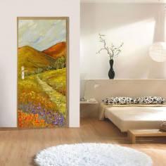 Τοπίο στην εξοχή,oil painting,αυτοκόλλητο πόρτας