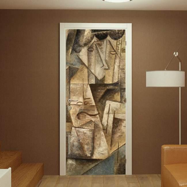 Abstract faces,αυτοκόλλητο πόρτας