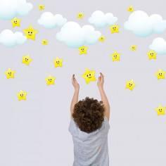 Αυτοκόλλητα τοίχου παιδικά, αστέρια χαμογελαστά και συννεφάκια