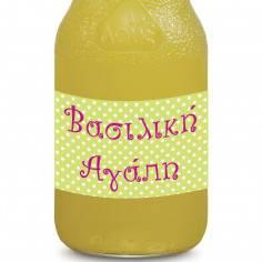 Πουά (Polka dots) σε λαχανί-λευκό-φούξια , αυτοκόλλητες ετικέτες για μπουκάλια αναψυκτικών ή νερού, με το όνομα που θέλετε