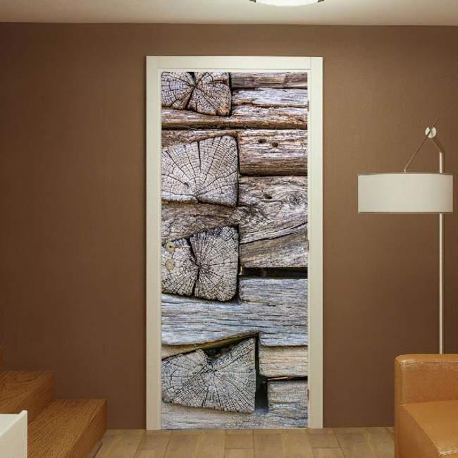 Wood planks,αυτοκόλλητο πόρτας