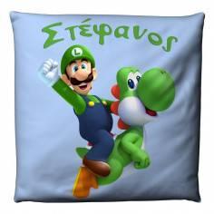 Super Mario 2 , Luigi, βαμβακερό διακοσμητικό μαξιλάρι, με το όνομα που θέλετε!
