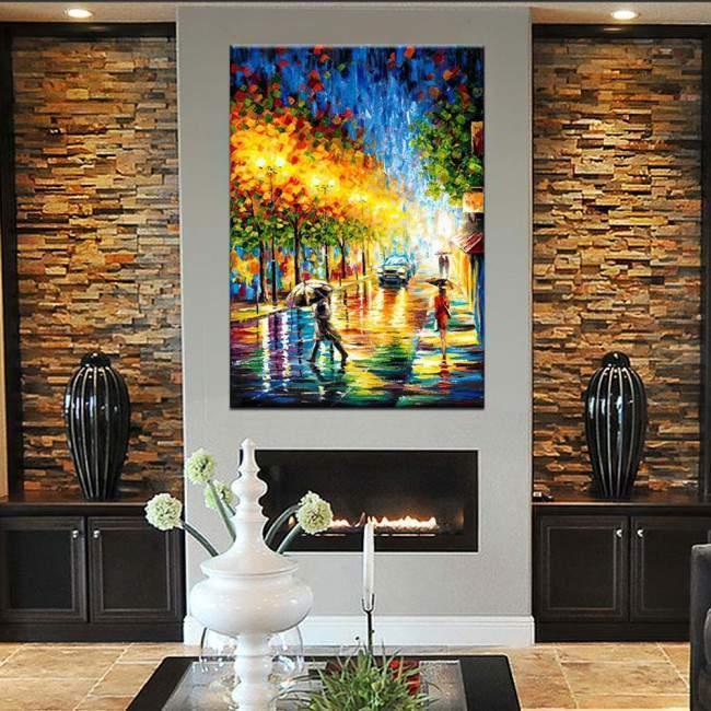City reflections , αυθεντικός πίνακας σε καμβά