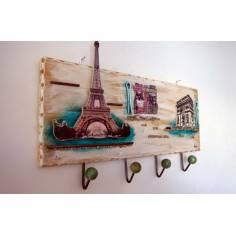 Paris ,ξύλινη χειροποίητη τρισδιάστατη κρεμάστρα