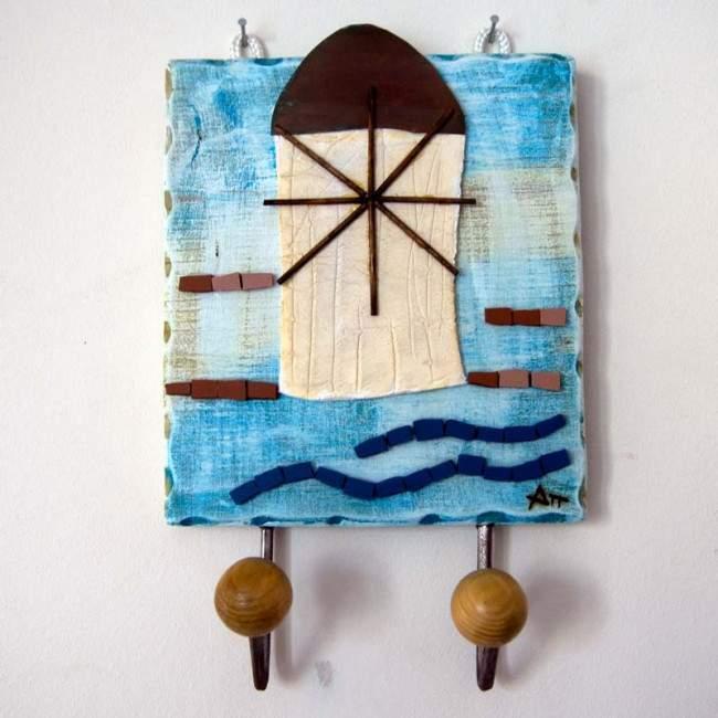 Το νησί ,ξύλινη χειροποίητη τρισδιάστατη κρεμάστρα
