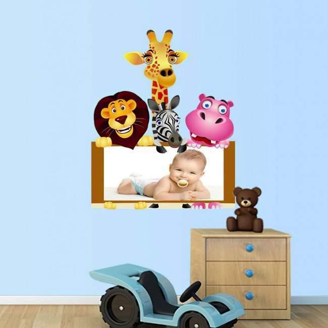Παρέα στη ζούγκλα με χώρο για παιδική φωτογραφία , αυτοκόλλητα τοίχου
