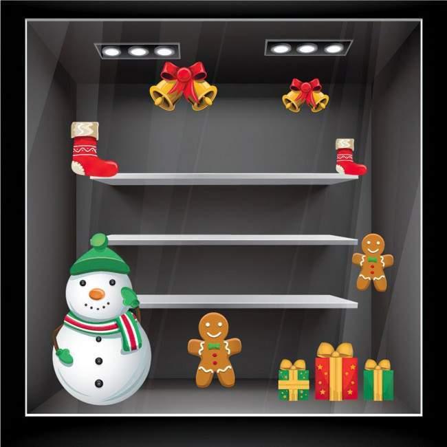 Χριστουγεννιάτικο σετ στολισμού 1,αυτοκόλλητα βιτρίνας ,τοίχου