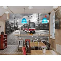 Tram in the city, φωτογραφική ταπετσαρία αυτοκόλλητη