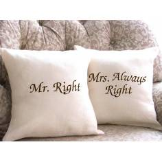 Mr Right , Mrs Always Right, διακοσμητικό μαξιλάρι (καναπέ)