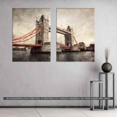 Tower bridge, vintage, δίπτυχος πίνακας σε καμβά (multipanel)