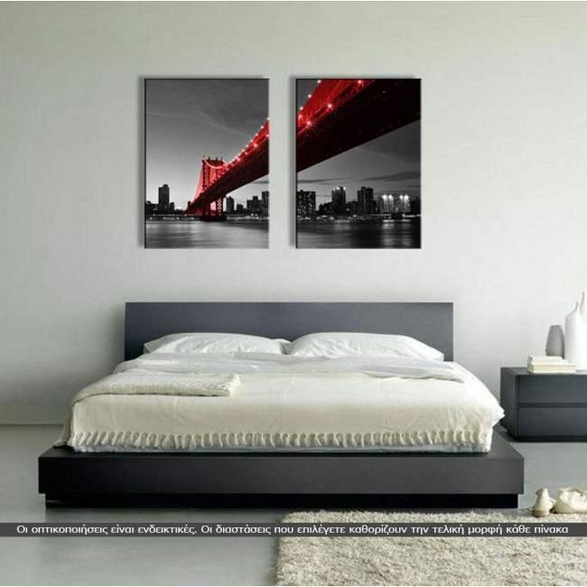 Manhattan Bridge Red & Grayscale, δίπτυχος πίνακας σε καμβά (multipanel)