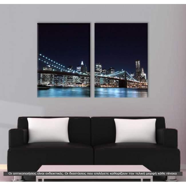 Brooklyn Bridge dark blue, δίπτυχος πίνακας σε καμβά (multipanel)