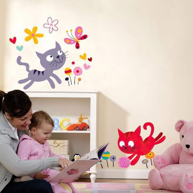 Χαριτωμένα γατάκια (Kittens) , αυτοκόλλητο τοίχου