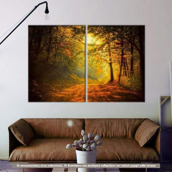 Forest memories, δίπτυχος πίνακας σε καμβά