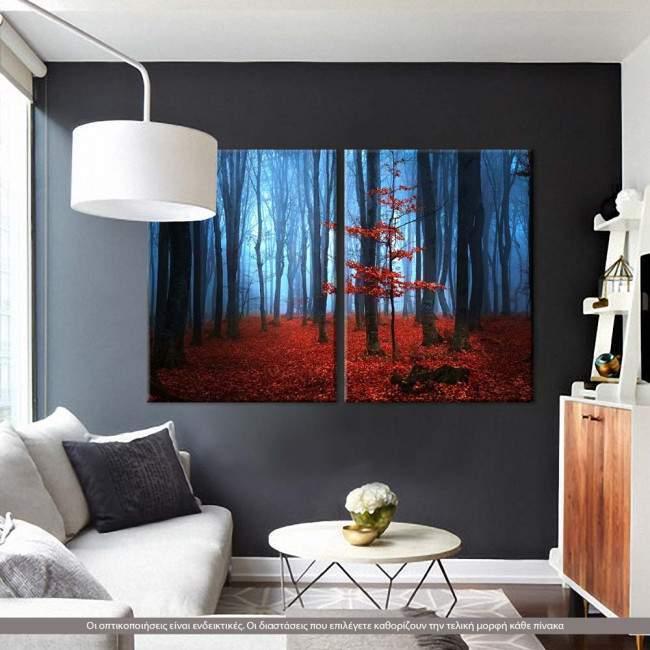 Autumnal foggy forest, δίπτυχος πίνακας σε καμβά (multipanel)