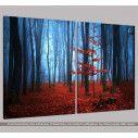 Autumnal foggy forest I, δίπτυχος πίνακας σε καμβά