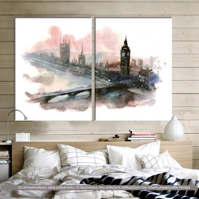 London (watercolors) δίπτυχος πίνακας σε καμβά (multipanel)