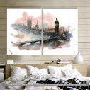 London (watercolors), δίπτυχος πίνακας σε καμβά