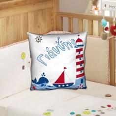Θαλασσινό θέμα, 100 % βαμβακερό διακοσμητικό μαξιλάρι, με το όνομα που θέλετε!