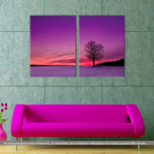 Τwilight, δίπτυχος πίνακας σε καμβά (multipanel)