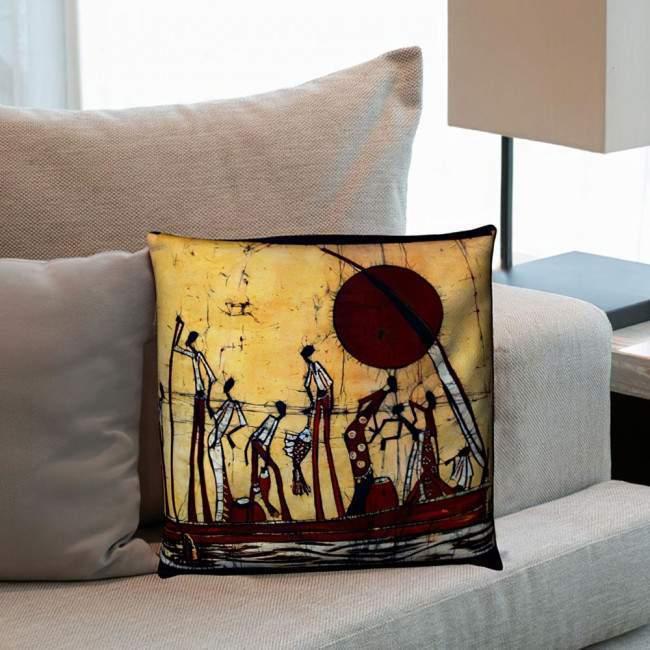 Africa scene Batic Style, διακοσμητικό μαξιλάρι