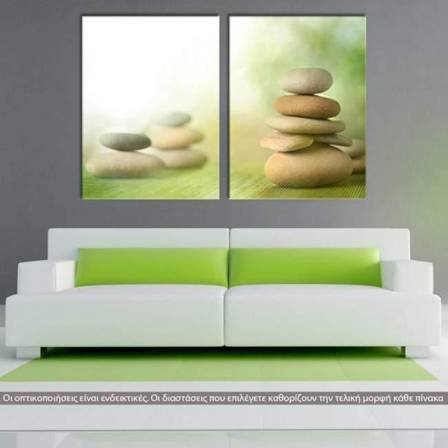 Stone piles green, δίπτυχος πίνακας σε καμβά