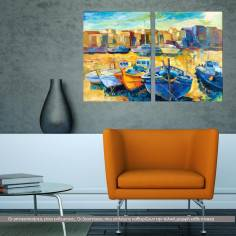 Wharf, δίπτυχος πίνακας σε καμβά (multipanel)