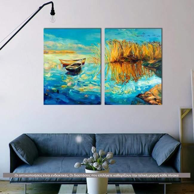 Lake memories, δίπτυχος πίνακας σε καμβά (multipanel)