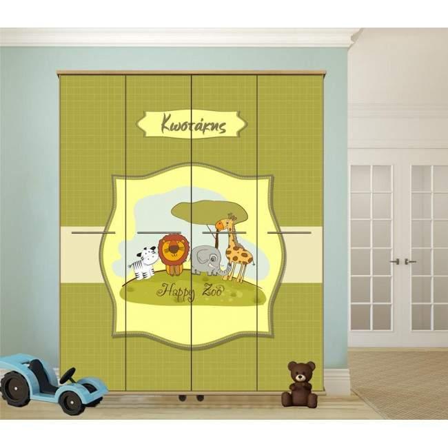 Happy zoo, αυτοκόλλητο ντουλάπας παιδικής