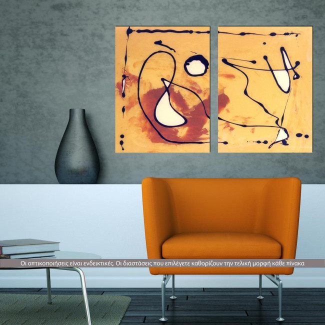 Autumn Dance Abstract , δίπτυχος πίνακας σε καμβά (multipanel)
