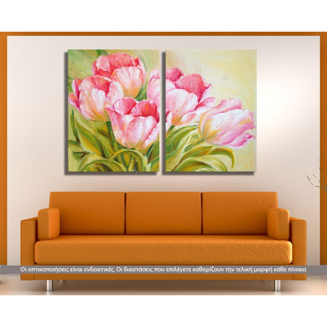 Pink Tulips oil painting , δίπτυχος πίνακας σε καμβά (multipanel)