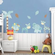 Baby safari (blue) , αυτοκόλλητο τοίχου με ζωάκια της ζούγκλας και δέντρα
