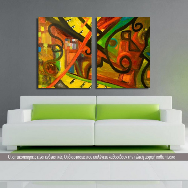 Abstract oil painting I, δίπτυχος πίνακας σε καμβά (multipanel)