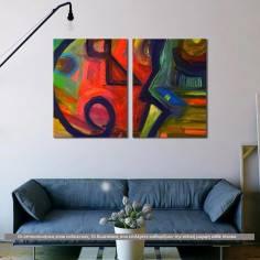 Abstract oil painting V, δίπτυχος πίνακας σε καμβά (multipanel)