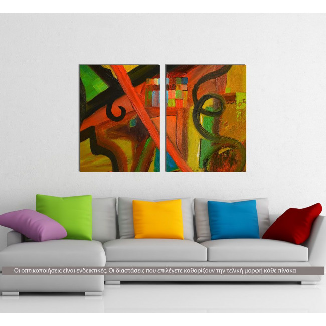 Abstract oil painting IV, δίπτυχος πίνακας σε καμβά (multipanel)