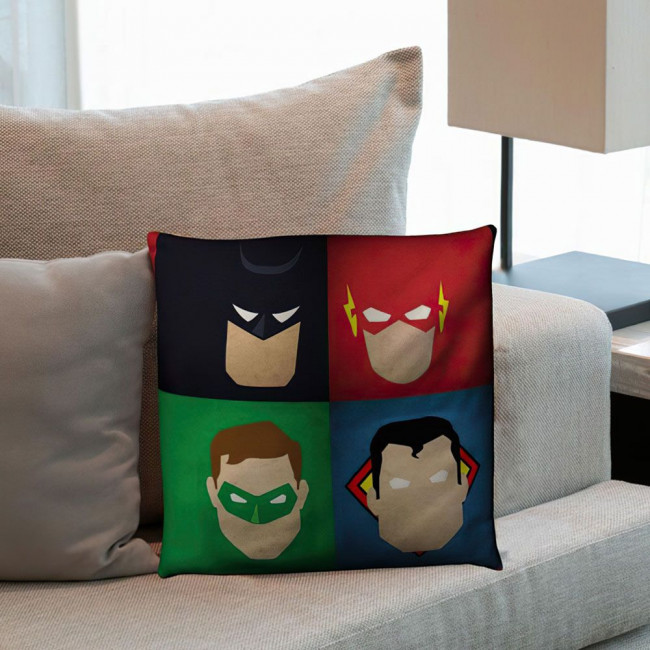 Justice League ,βαμβακερό διακοσμητικό μαξιλάρι, με το όνομα που θέλετε!