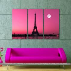 Πίνακας σε καμβά, Eiffel under moon, τρίπτυχος