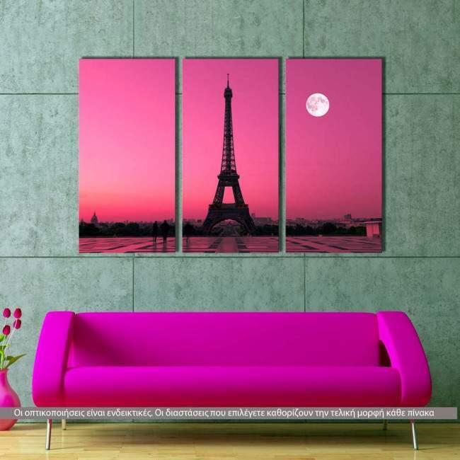 Eiffel under moon, τρίπτυχος πίνακας σε καμβά (multipanel)