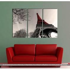 Πίνακας σε καμβά, Red Eiffel tower, τρίπτυχος