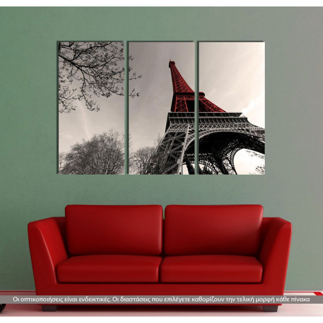 Red Eiffel tower, τρίπτυχος πίνακας σε καμβά