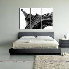Πύργος του Άιφελ, B&W, τρίπτυχος πίνακας σε καμβά (multipanel)