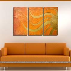 Golden Sun, τρίπτυχος πίνακας σε καμβά (multipanel)