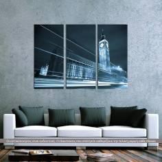 Big Ben behind light beams, τρίπτυχος πίνακας σε καμβά (multipanel)