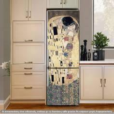 The kiss ,Klimt , sepia colors , αυτοκόλλητο ψυγείου