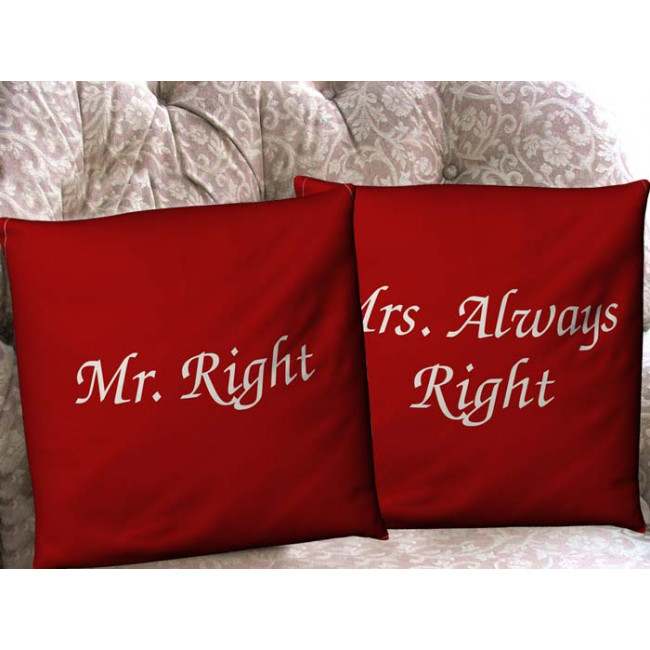 Mr Right , Mrs Always Right Red, διακοσμητικό μαξιλάρι (καναπέ)