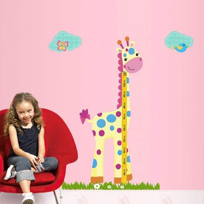 Χαριτωμένη καμηλοπάρδαλη ,υψομετρητής, αυτοκόλλητο τοίχου