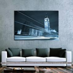Big Ben behind light beams, πίνακας σε καμβά