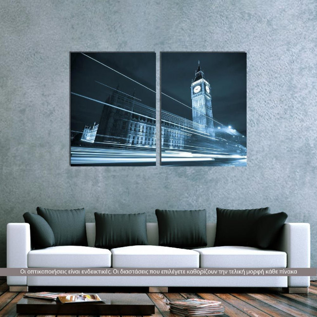 Big Ben behind light beams, δίπτυχος πίνακας σε καμβά (multipanel)
