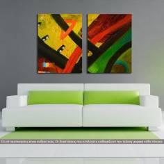 Abstract oil painting III, δίπτυχος πίνακας σε καμβά (multipanel)